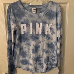 Pink Victoria's Secret blue tie dye top